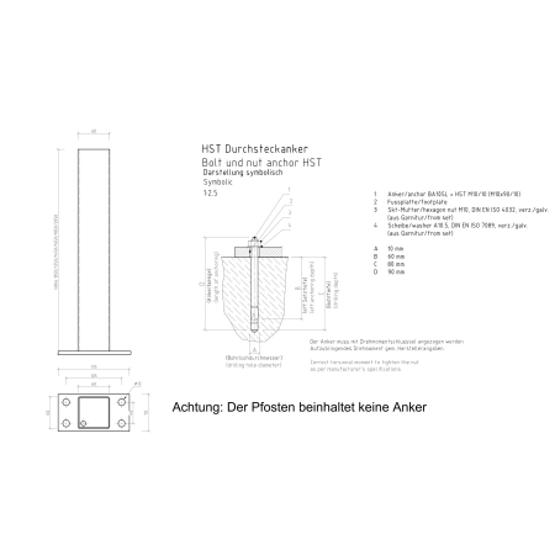 Zaunpfosten 60 x 60 mm mit Fußplatte RAL 7016 anthrazit matt 185 cm